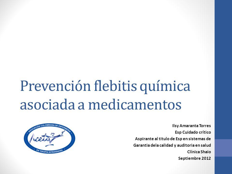 Prevención flebitis química asociada a medicamentos
