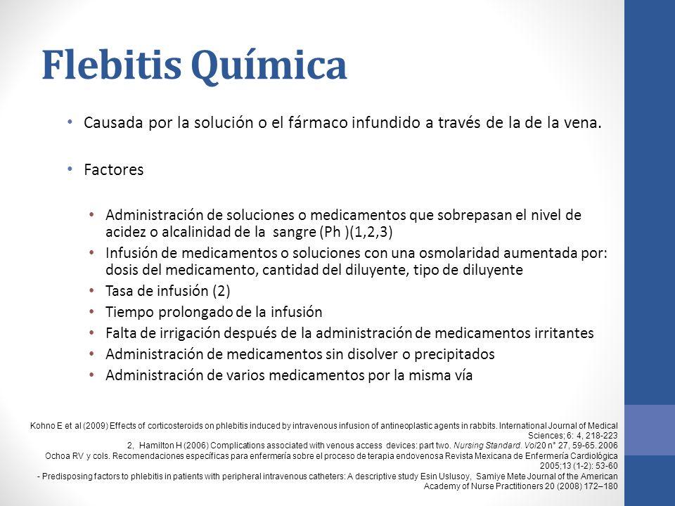 Flebitis Química Causada por la solución o el fármaco infundido a través de la de la vena. Factores.