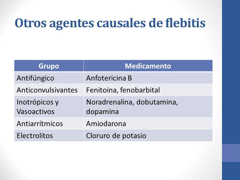 Otros agentes causales de flebitis