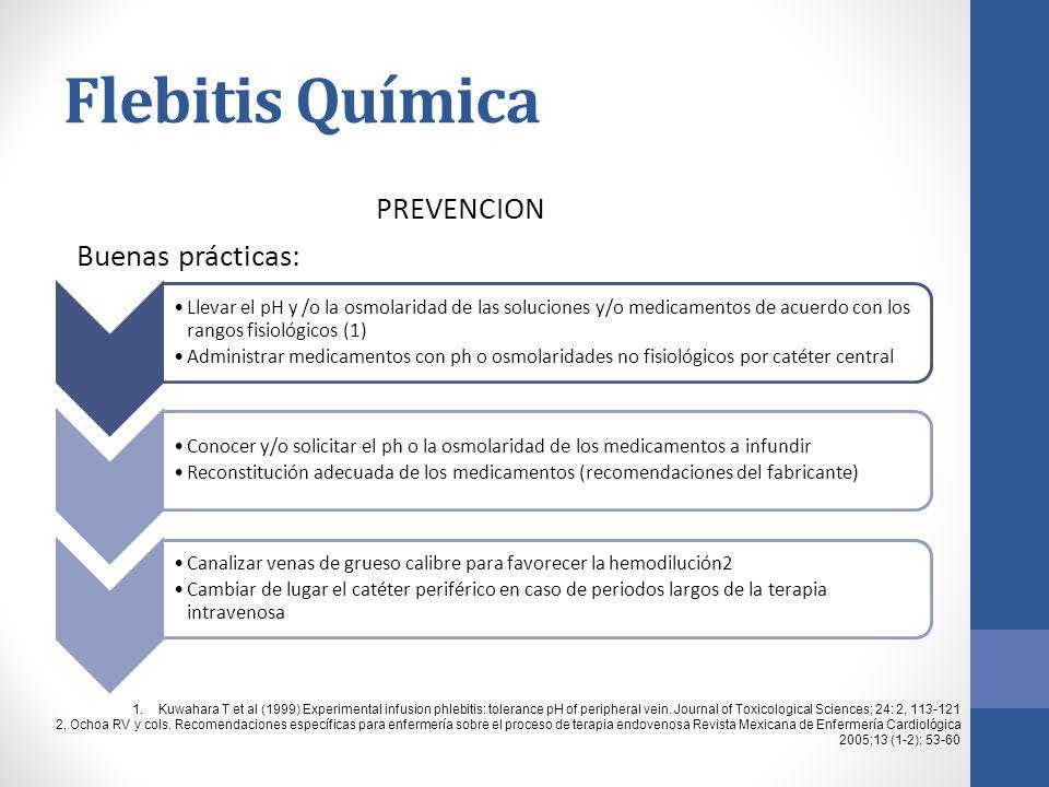 Flebitis Química PREVENCION Buenas prácticas: