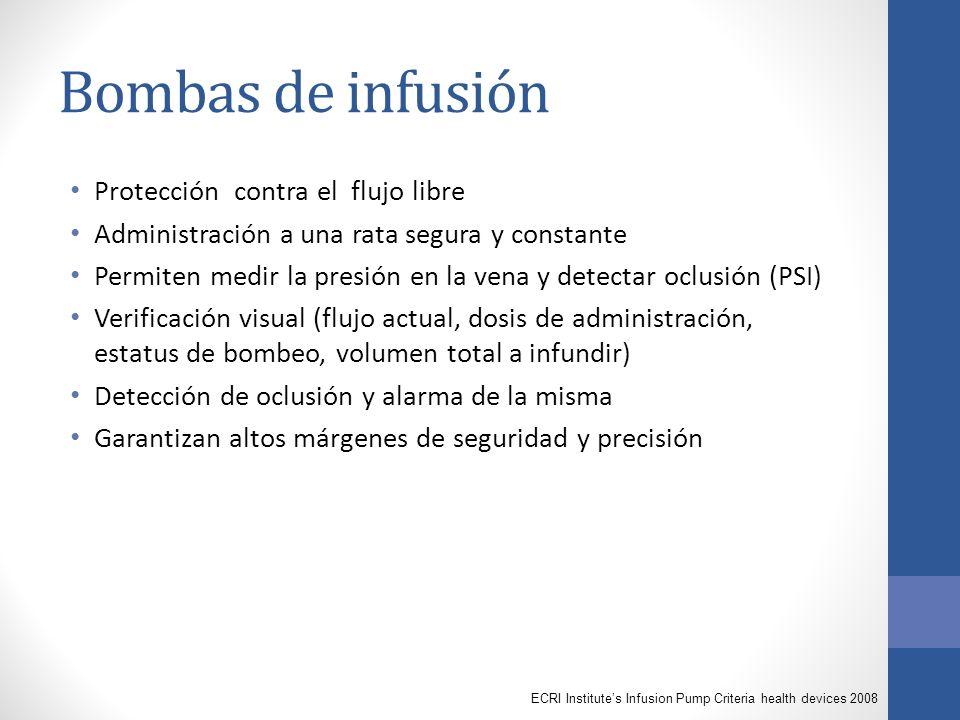 Bombas de infusión Protección contra el flujo libre