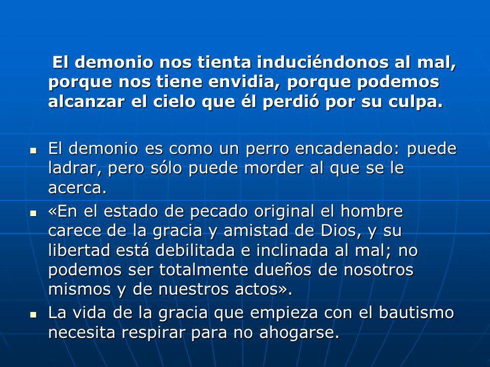 El demonio nos tienta induciéndonos al mal, porque nos tiene envidia, porque podemos alcanzar el cielo que él perdió por su culpa.
