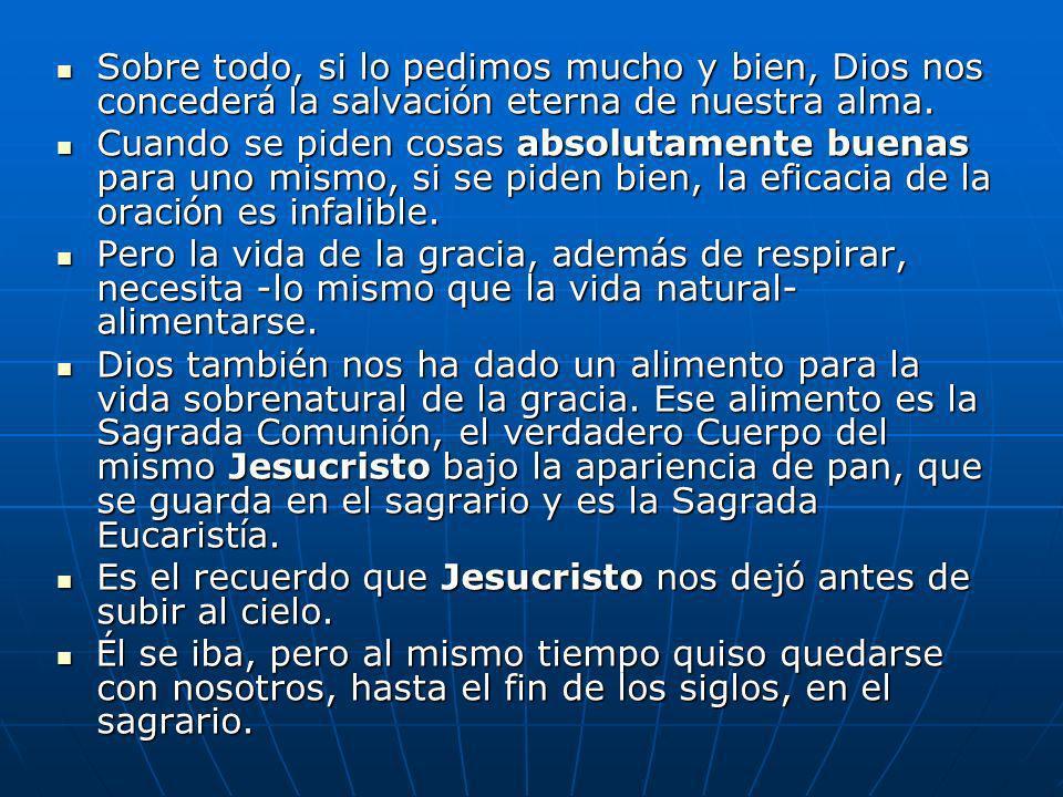 Sobre todo, si lo pedimos mucho y bien, Dios nos concederá la salvación eterna de nuestra alma.