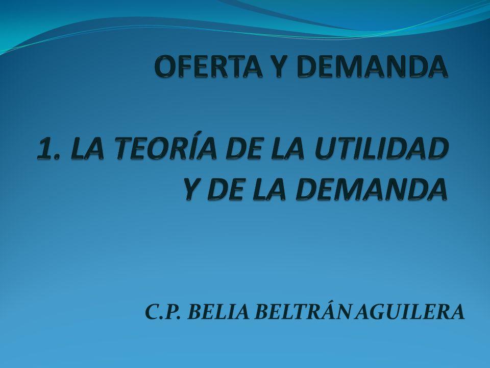 OFERTA Y DEMANDA 1. LA TEORÍA DE LA UTILIDAD Y DE LA DEMANDA