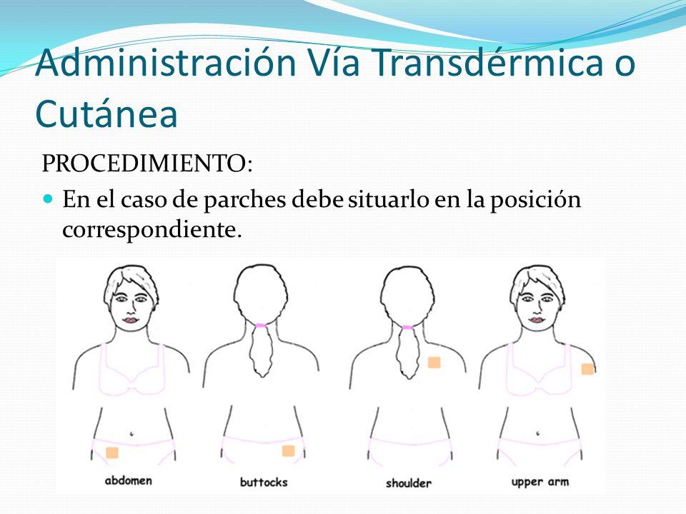 Administración Vía Transdérmica o Cutánea