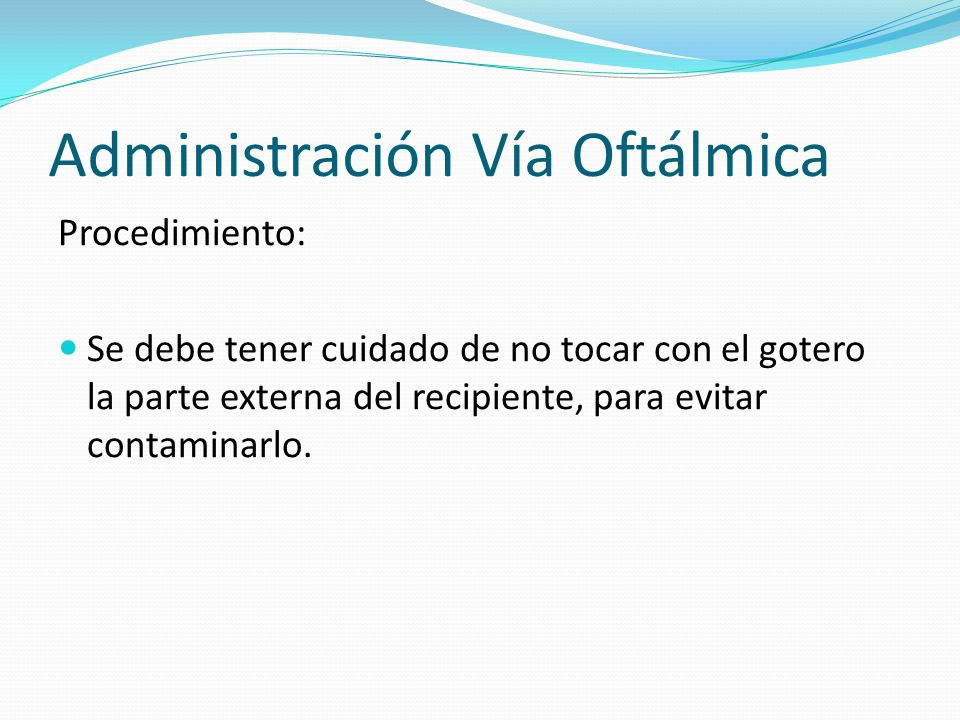 Administración Vía Oftálmica