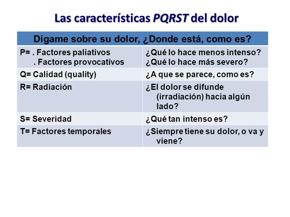 Las características PQRST del dolor