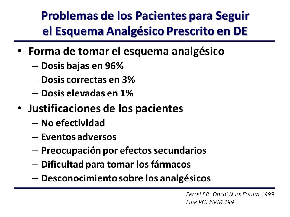 Problemas de los Pacientes para Seguir el Esquema Analgésico Prescrito en DE