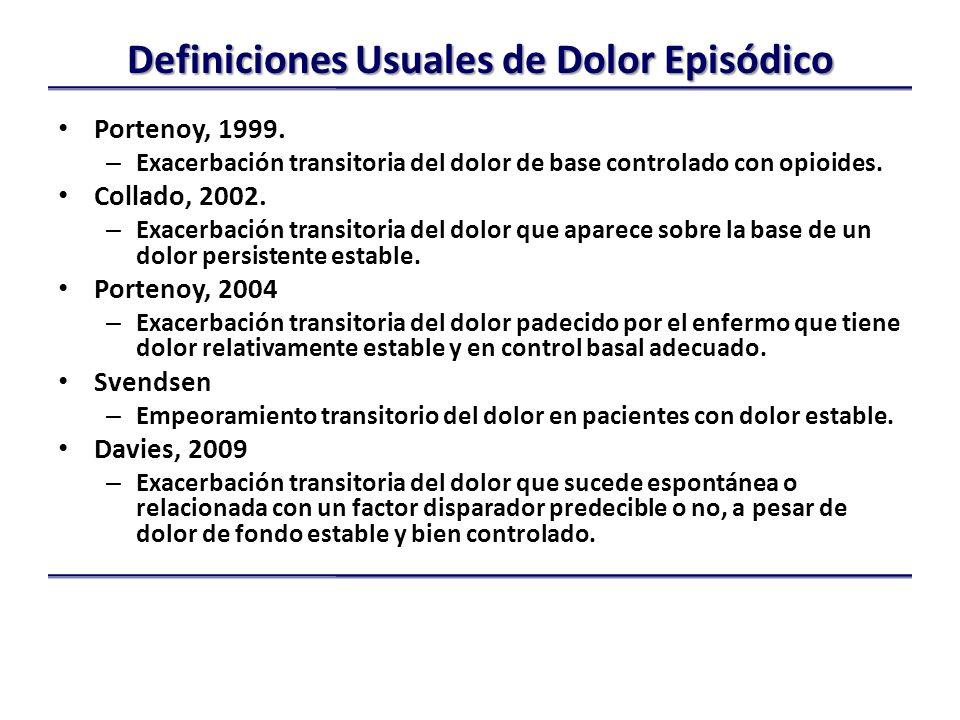 Definiciones Usuales de Dolor Episódico