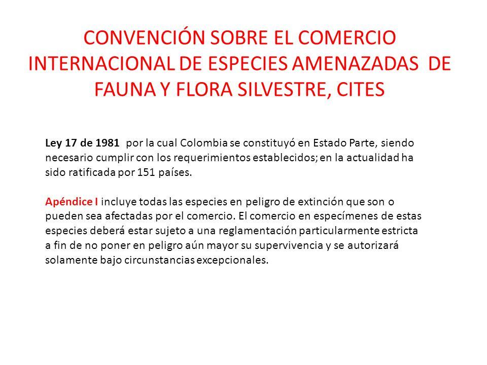 CONVENCIÓN SOBRE EL COMERCIO INTERNACIONAL DE ESPECIES AMENAZADAS DE FAUNA Y FLORA SILVESTRE, CITES