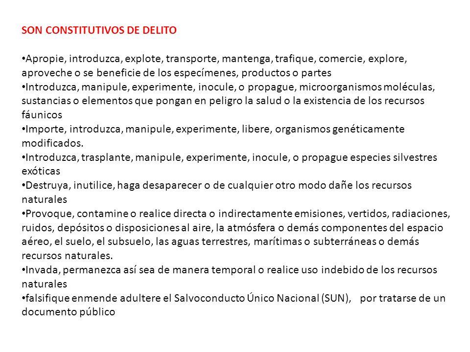 SON CONSTITUTIVOS DE DELITO