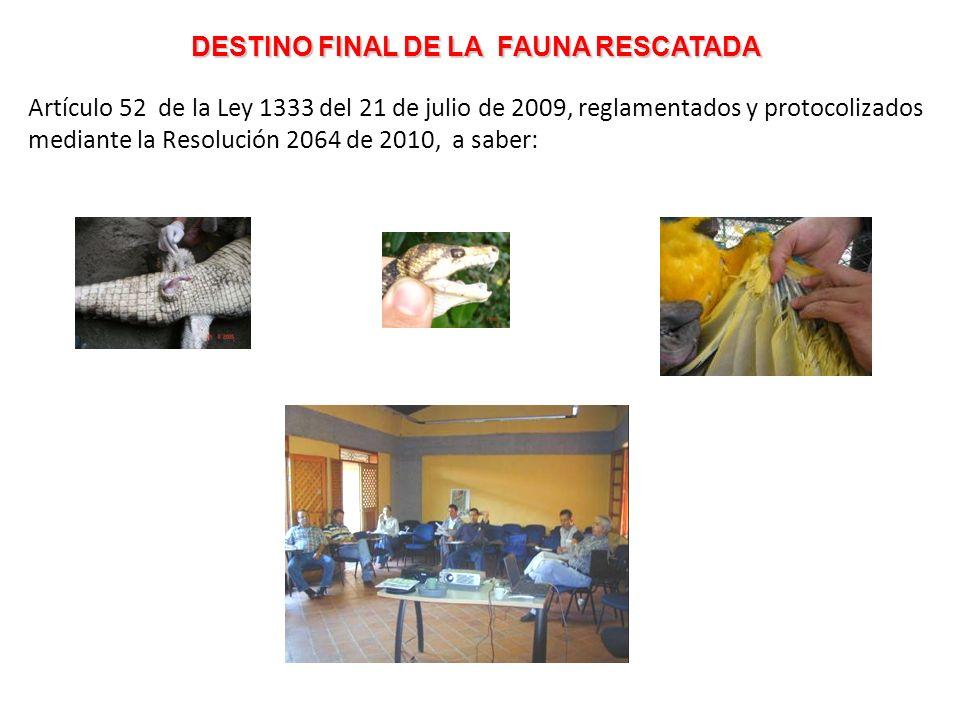 DESTINO FINAL DE LA FAUNA RESCATADA