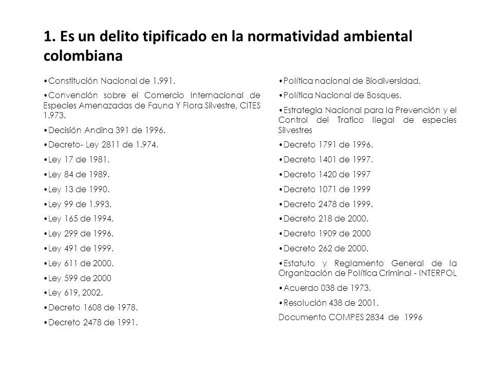 1. Es un delito tipificado en la normatividad ambiental colombiana
