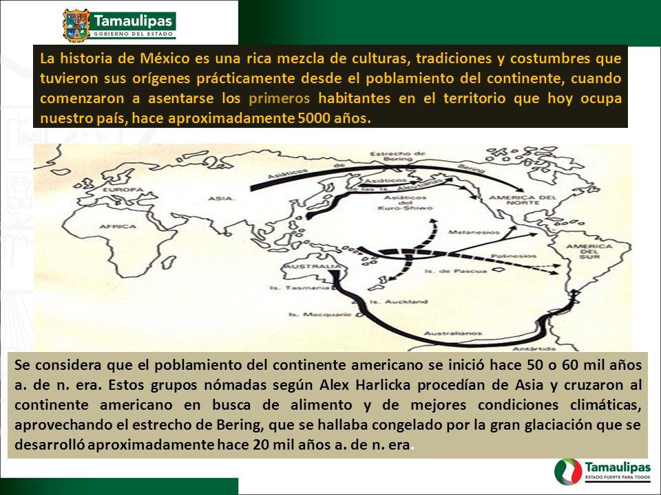 La historia de México es una rica mezcla de culturas, tradiciones y costumbres que tuvieron sus orígenes prácticamente desde el poblamiento del continente, cuando comenzaron a asentarse los primeros habitantes en el territorio que hoy ocupa nuestro país, hace aproximadamente 5000 años.