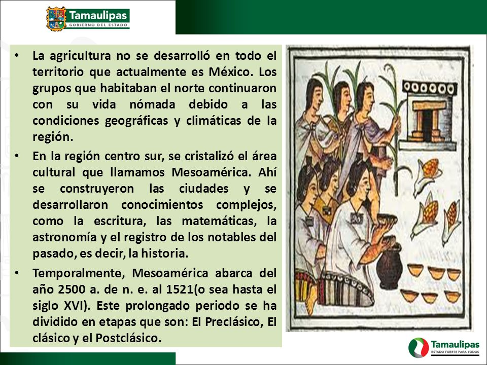 La agricultura no se desarrolló en todo el territorio que actualmente es México. Los grupos que habitaban el norte continuaron con su vida nómada debido a las condiciones geográficas y climáticas de la región.