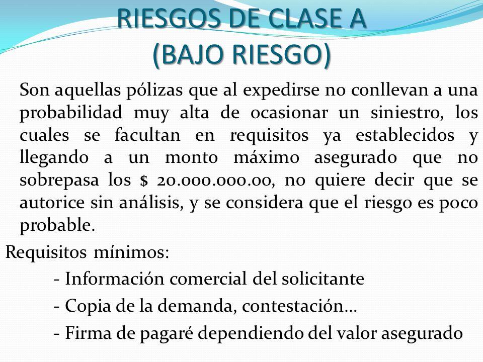 RIESGOS DE CLASE A (BAJO RIESGO)
