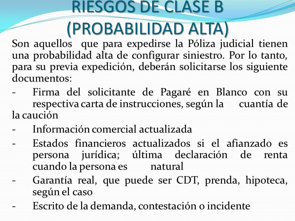 RIESGOS DE CLASE B (PROBABILIDAD ALTA)