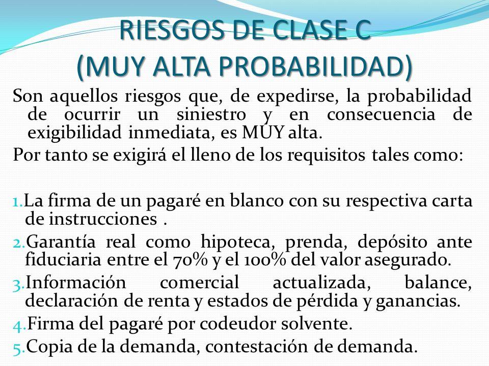 RIESGOS DE CLASE C (MUY ALTA PROBABILIDAD)