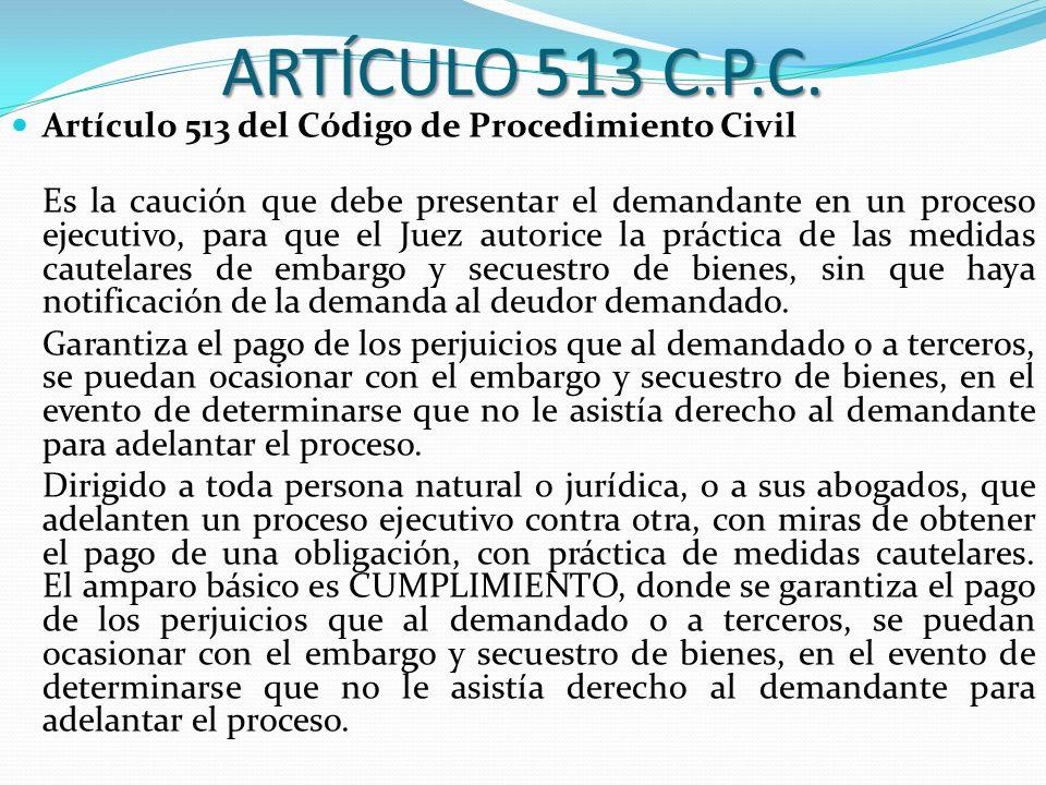 ARTÍCULO 513 C.P.C. Artículo 513 del Código de Procedimiento Civil