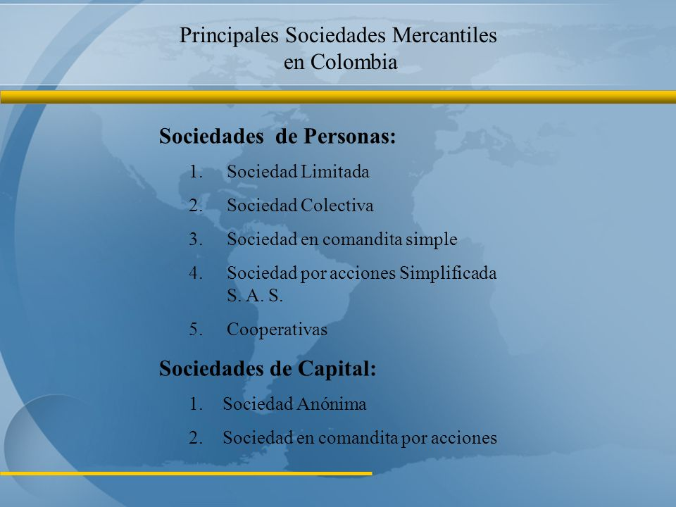 Principales Sociedades Mercantiles en Colombia