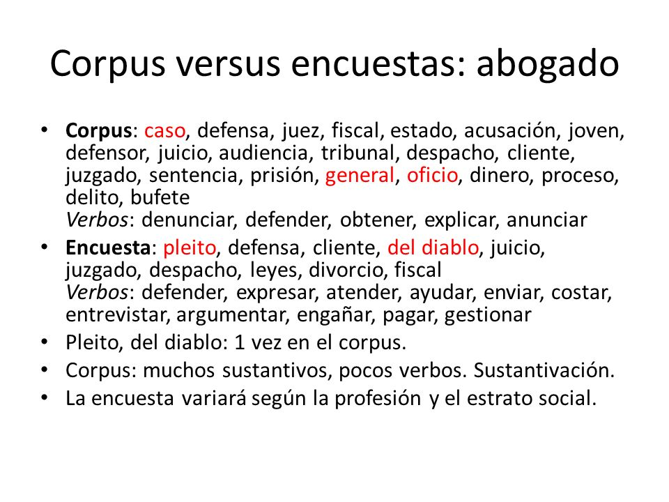 Corpus versus encuestas: abogado