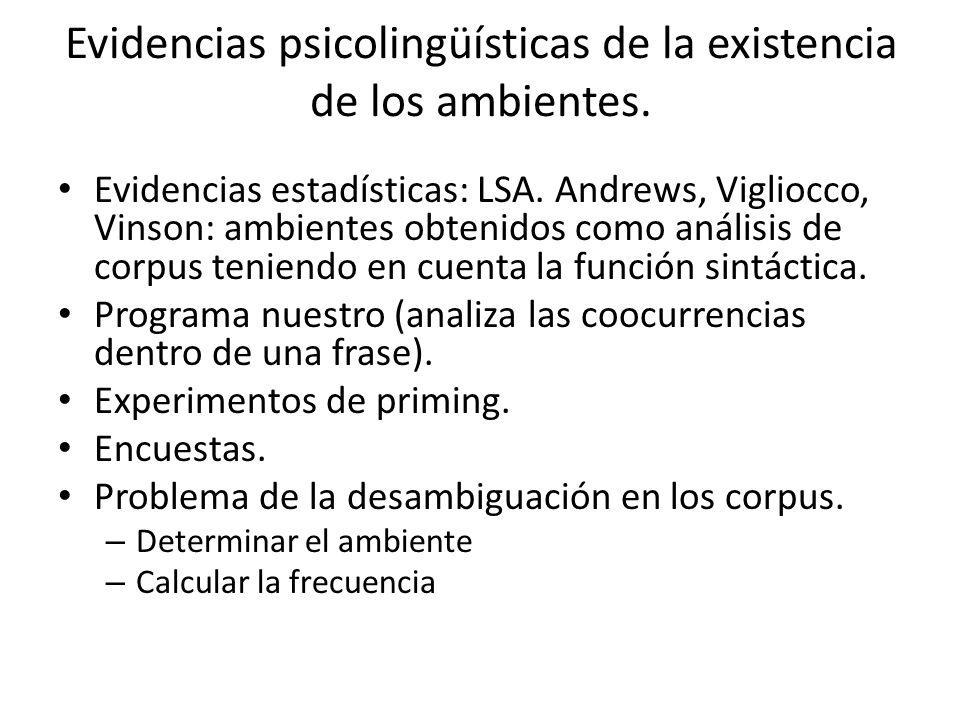 Evidencias psicolingüísticas de la existencia de los ambientes.