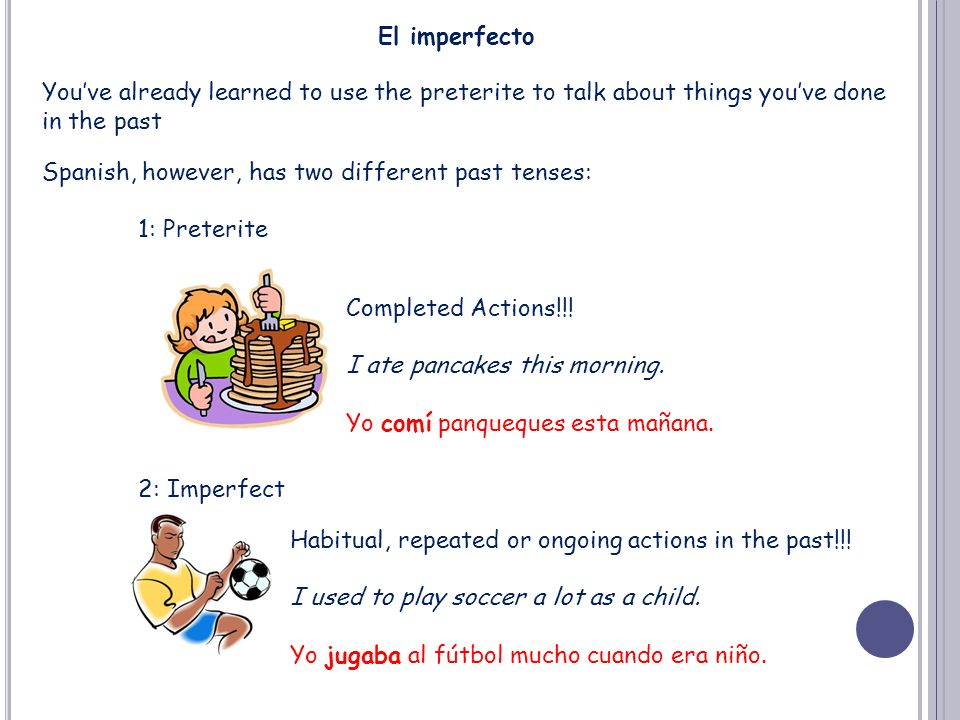 El imperfecto You've already learned to use the preterite to talk about things you've done. in the past.