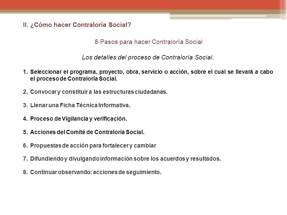II. ¿Cómo hacer Contraloría Social