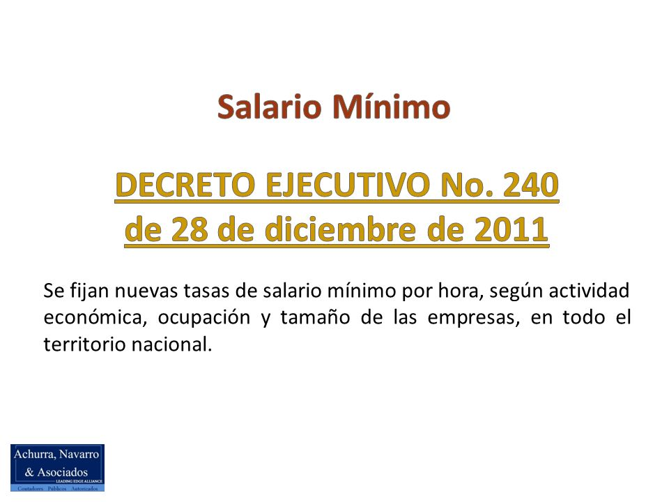 DECRETO EJECUTIVO No. 240 de 28 de diciembre de 2011