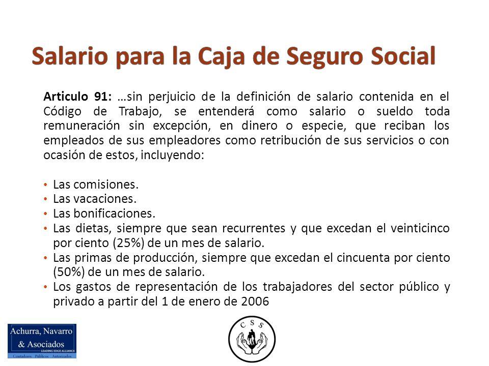 Salario para la Caja de Seguro Social