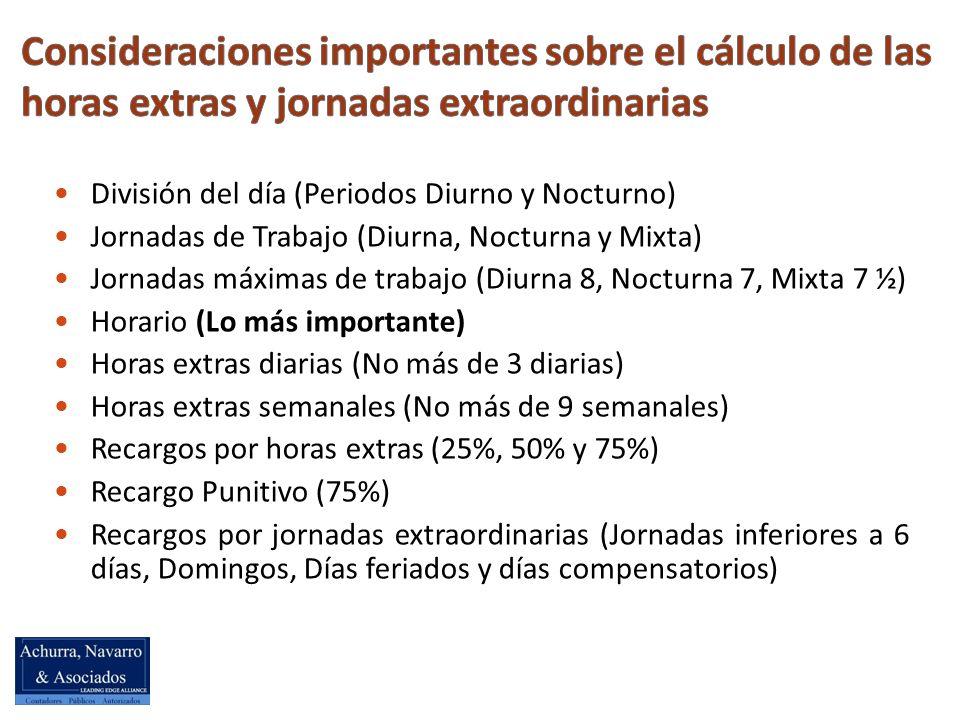 Consideraciones importantes sobre el cálculo de las horas extras y jornadas extraordinarias