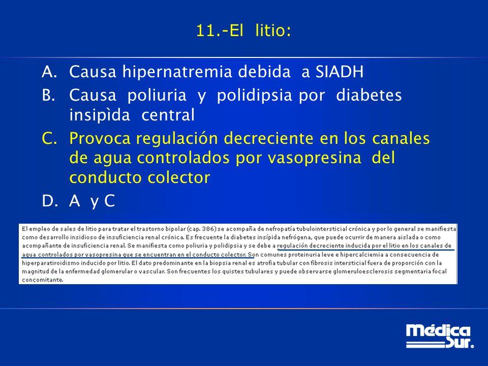 11.-El litio: Causa hipernatremia debida a SIADH. Causa poliuria y polidipsia por diabetes insipìda central.