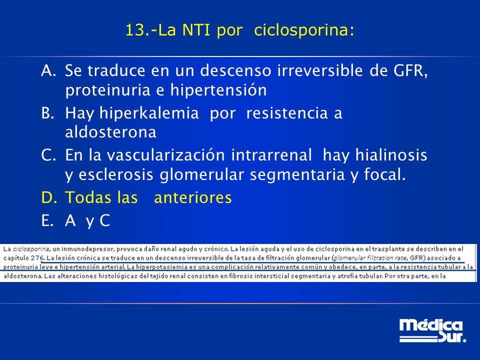13.-La NTI por ciclosporina: