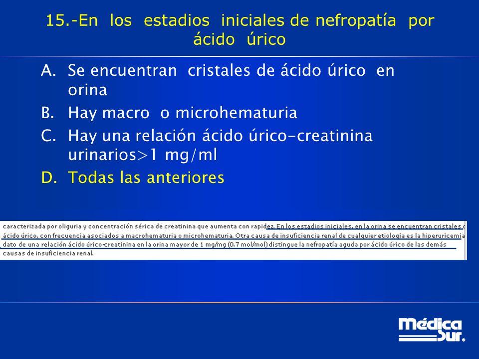 15.-En los estadios iniciales de nefropatía por ácido úrico