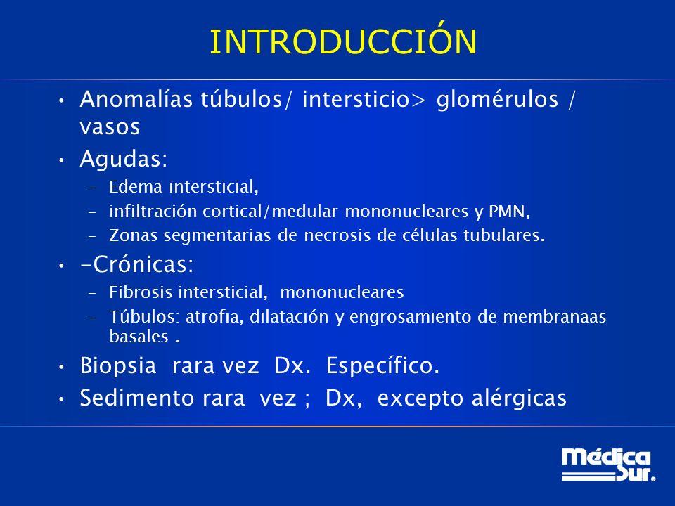 INTRODUCCIÓN Anomalías túbulos/ intersticio> glomérulos / vasos