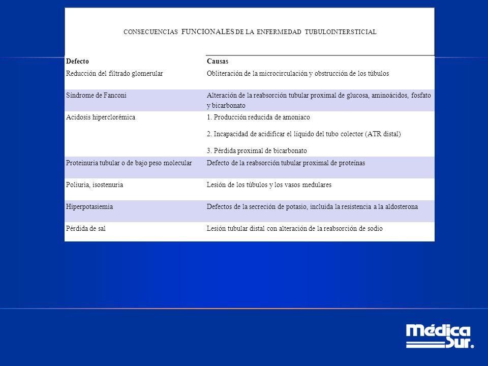 CONSECUENCIAS FUNCIONALES DE LA ENFERMEDAD TUBULOINTERSTICIAL