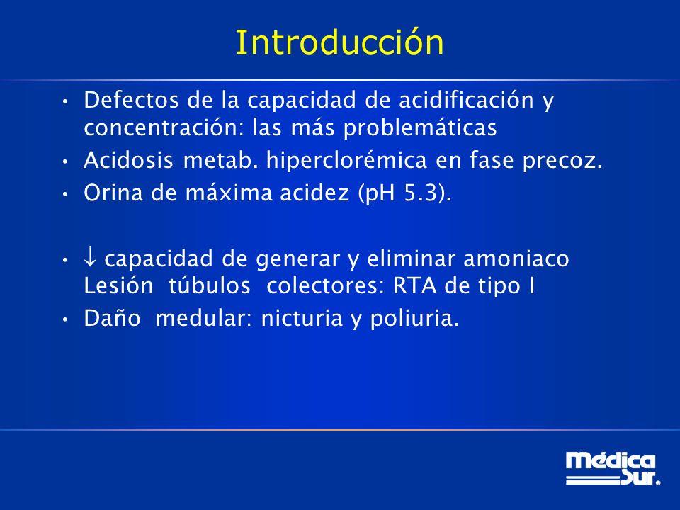 Introducción Defectos de la capacidad de acidificación y concentración: las más problemáticas. Acidosis metab. hiperclorémica en fase precoz.