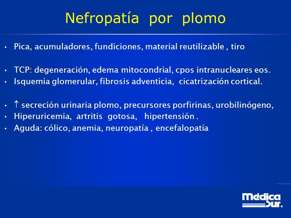 Nefropatía por plomo Pica, acumuladores, fundiciones, material reutilizable , tiro.