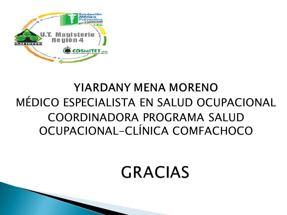 GRACIAS YIARDANY MENA MORENO MÉDICO ESPECIALISTA EN SALUD OCUPACIONAL