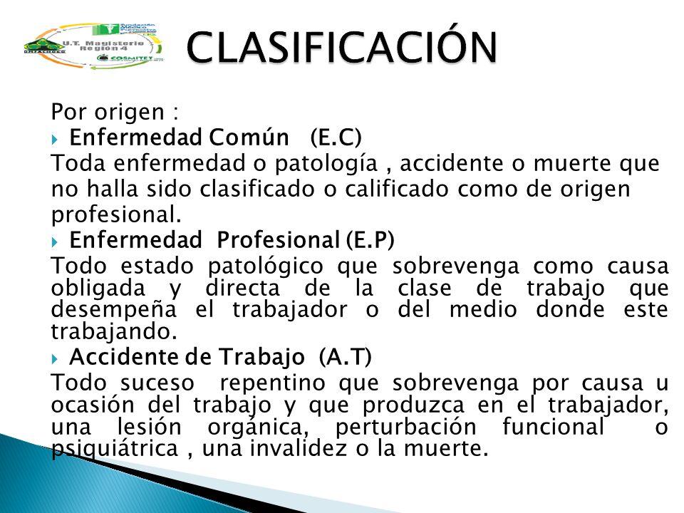 CLASIFICACIÓN Por origen : Enfermedad Común (E.C)