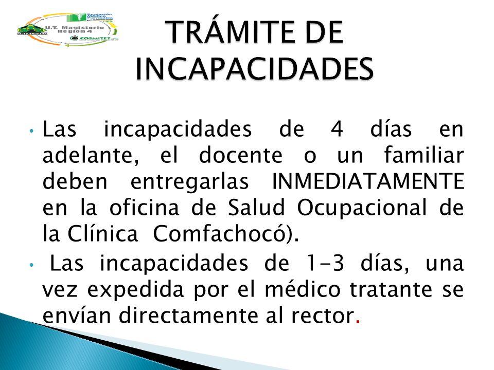 TRÁMITE DE INCAPACIDADES