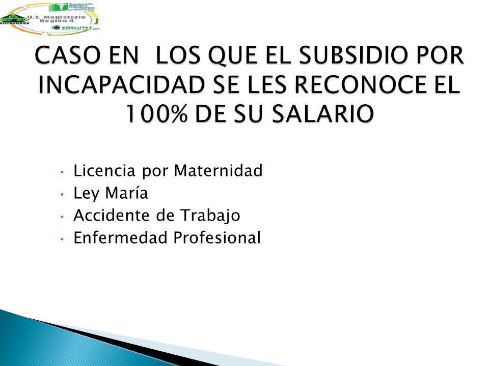 CASO EN LOS QUE EL SUBSIDIO POR INCAPACIDAD SE LES RECONOCE EL 100% DE SU SALARIO