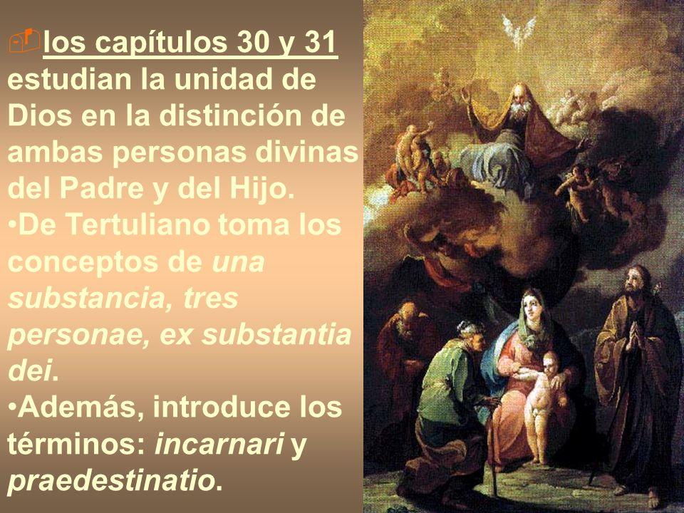 los capítulos 30 y 31 estudian la unidad de Dios en la distinción de ambas personas divinas del Padre y del Hijo.