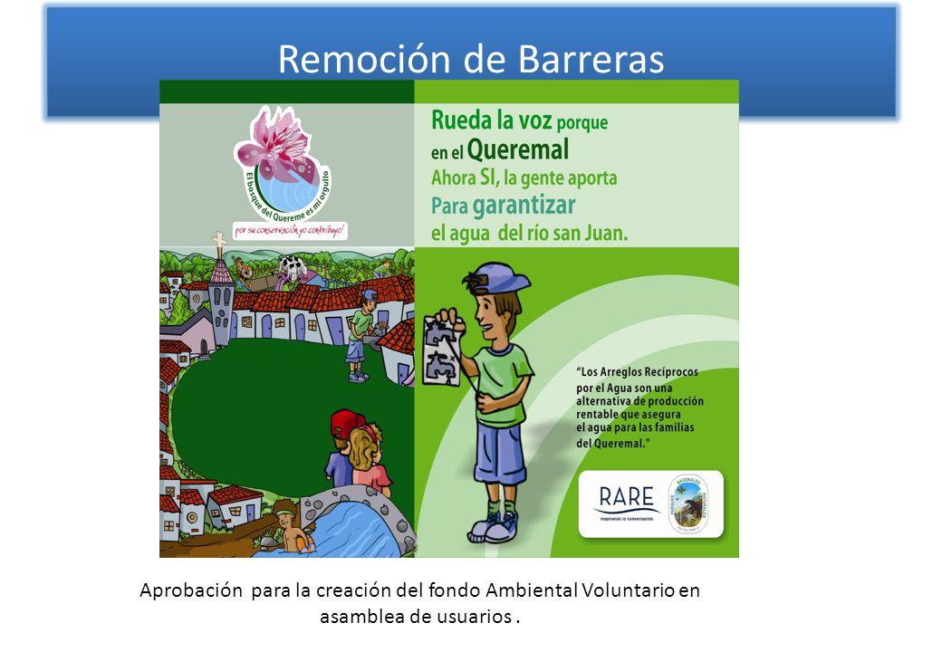 Remoción de Barreras Aprobación para la creación del fondo Ambiental Voluntario en asamblea de usuarios .