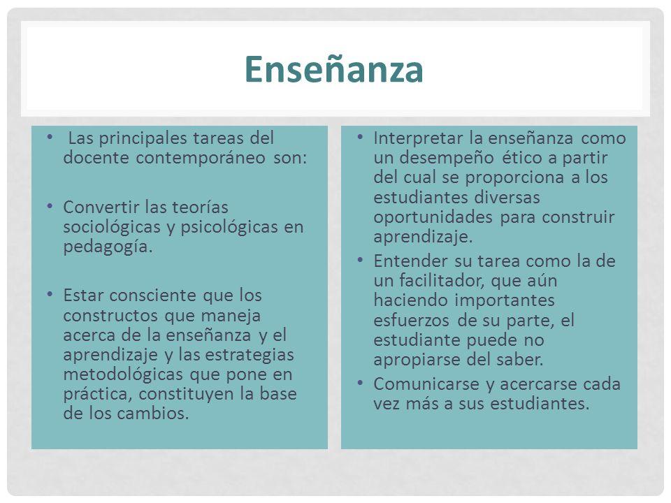 Enseñanza Las principales tareas del docente contemporáneo son: