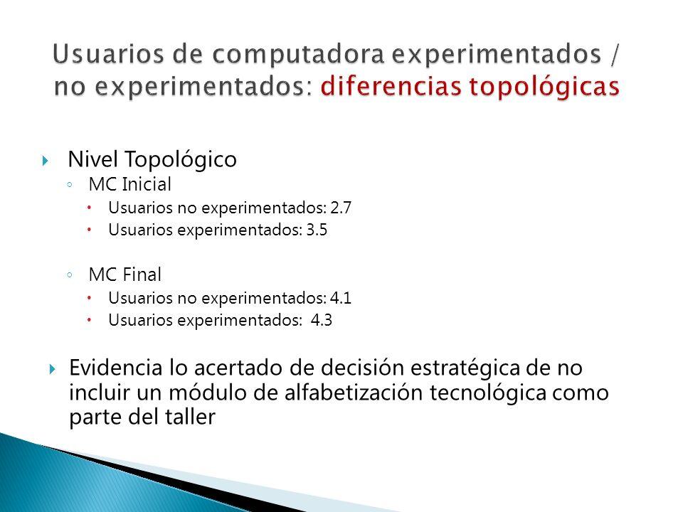 Usuarios de computadora experimentados / no experimentados: diferencias topológicas