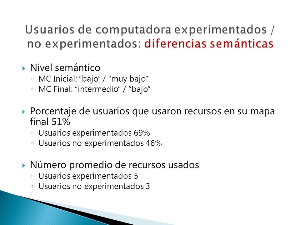 Usuarios de computadora experimentados / no experimentados: diferencias semánticas