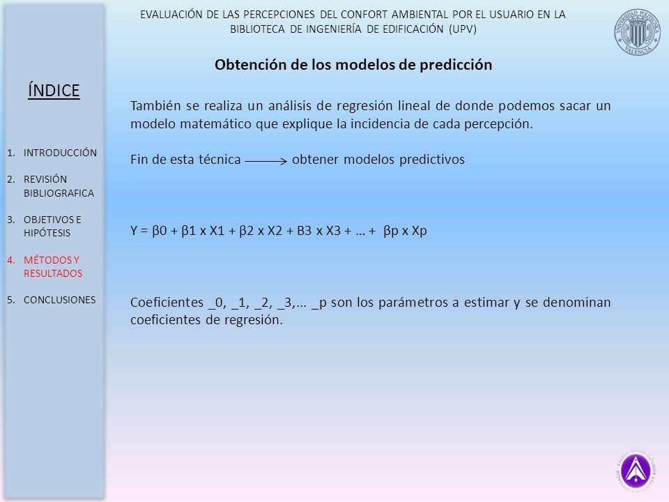 ÍNDICE Obtención de los modelos de predicción