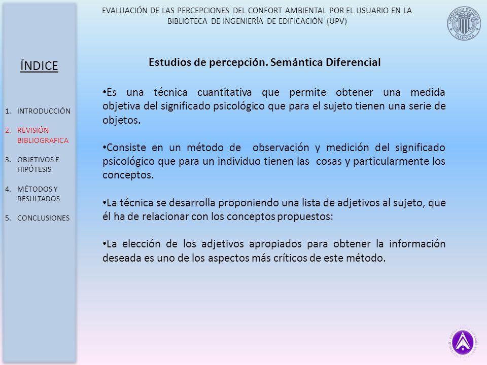 ÍNDICE Estudios de percepción. Semántica Diferencial