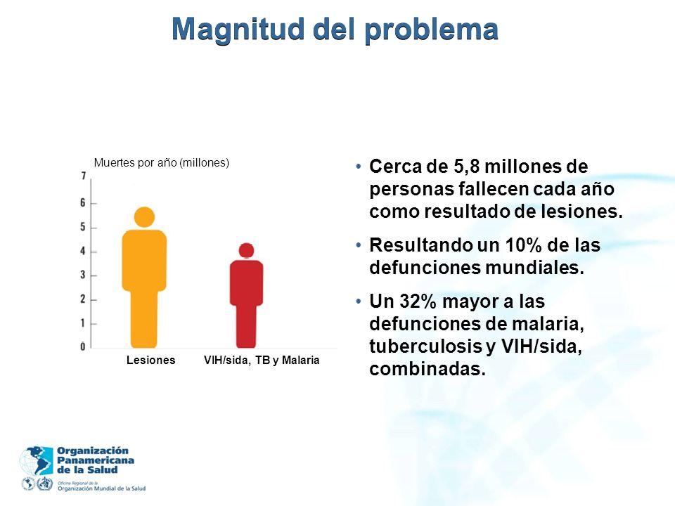 Magnitud del problema Muertes por año (millones) Cerca de 5,8 millones de personas fallecen cada año como resultado de lesiones.